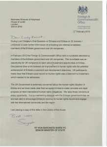 Eritrea letter to Baroness Kinnock