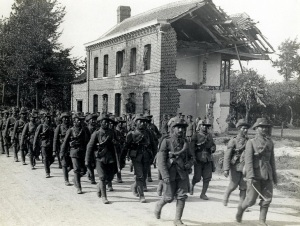 [39th] Garhwali Riflemen on the march in France [Estaire La Bassée Road]