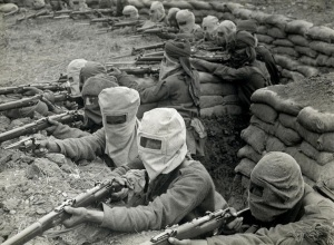 Indian infantry in the trenches, prepared against a gas attack [Fauquissart, France]