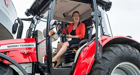 Manon on new tractor