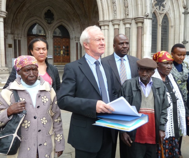 Martyn Day with Mau Mau veterans outside High Court London