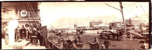 Cape Town docks with carts, ships