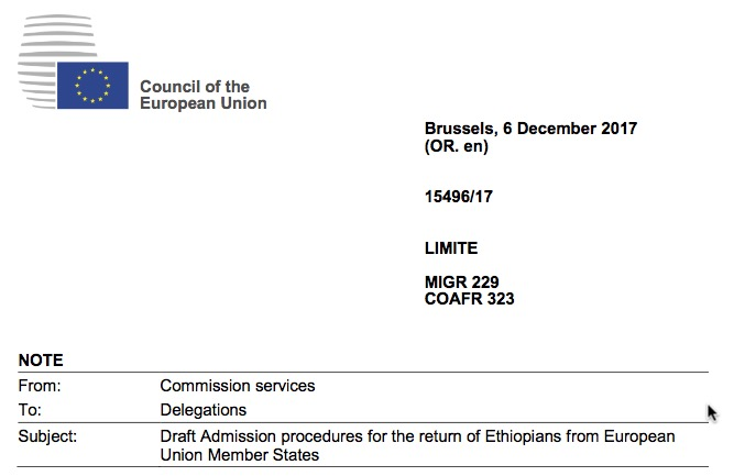 Leaked European Union document outlines procedure to expel Ethiopians