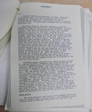 UK Prime Minister Mugabe files