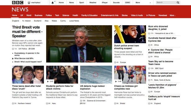 BBC Online 11.00 Monday 18 March 19