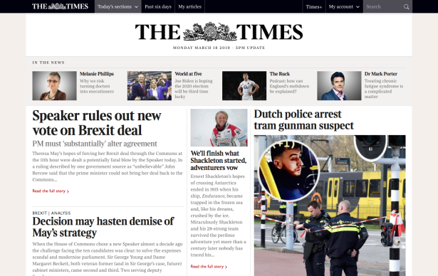Times 23.00 18 March 2019