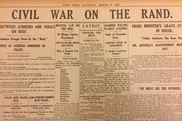 Rand Revolt Cape Times 11 March 1922