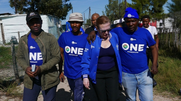 Helen Zille with supporters in Green Park Cape Town