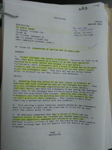 National Archive, PREM 19/4995 Somaliland
