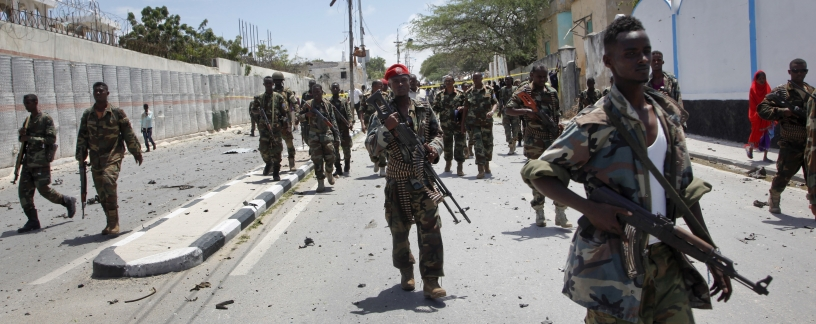 Somali troops on patrol