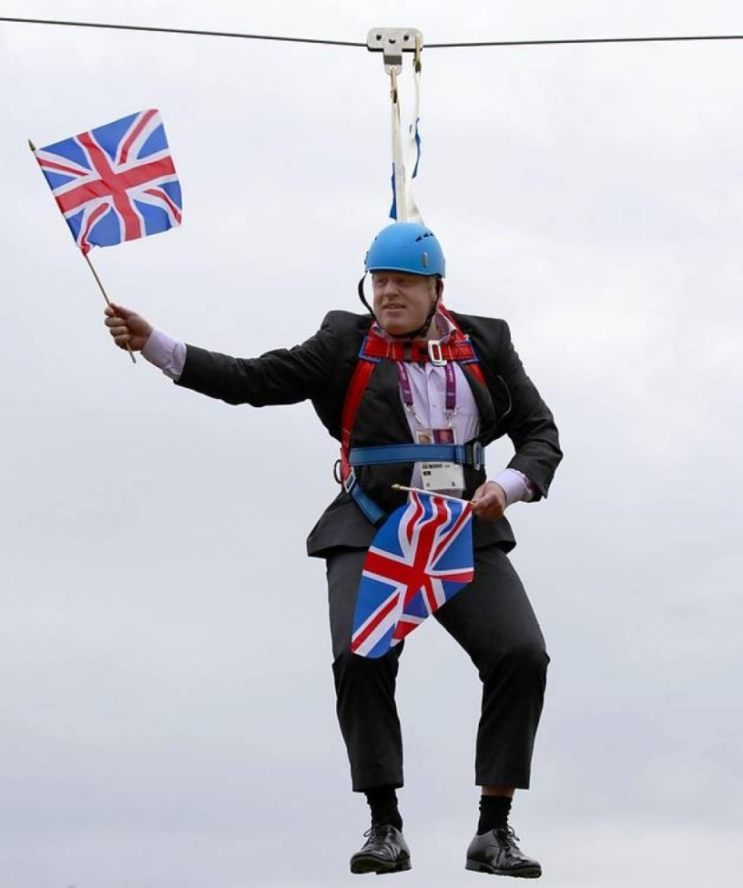 Boris Johnson stuck on a zipwire