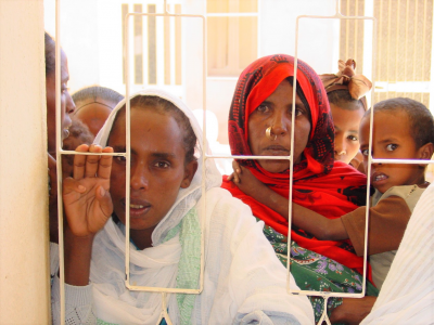 Eritrean mothers and children at clinic