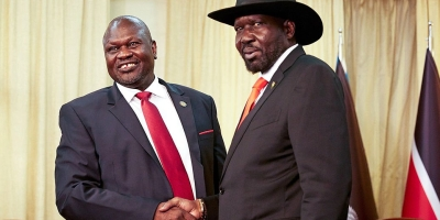 South Sudan's leaders shake hands