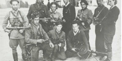 Jewish Lithuanian partisans group 'The Avengers' on their return to Vilna at the time of the liberation of the city by the Red Army, July 1944